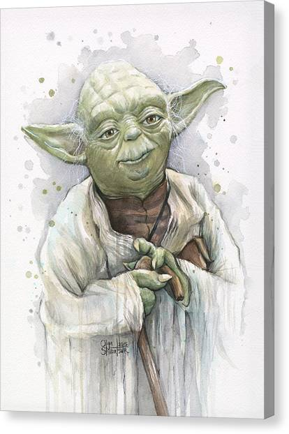 War Canvas Print - Yoda by Olga Shvartsur