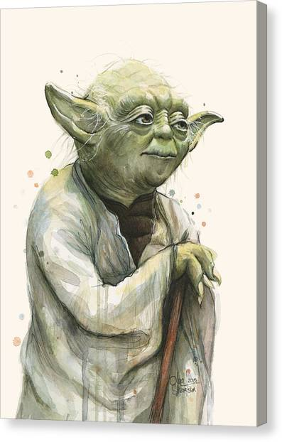 War Canvas Print - Yoda Portrait by Olga Shvartsur