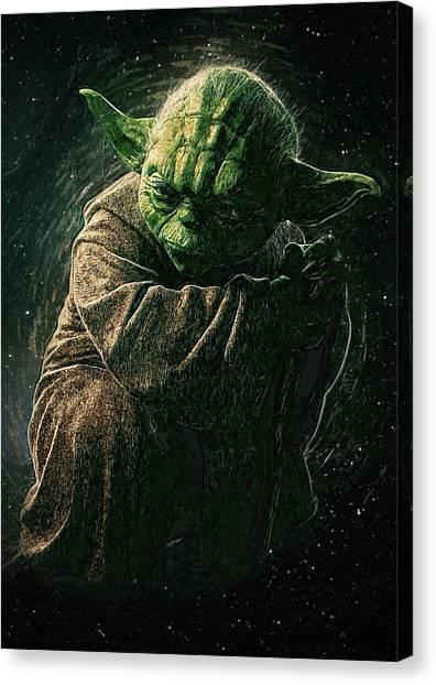 C-3po Canvas Print - Yoda by Semih Yurdabak