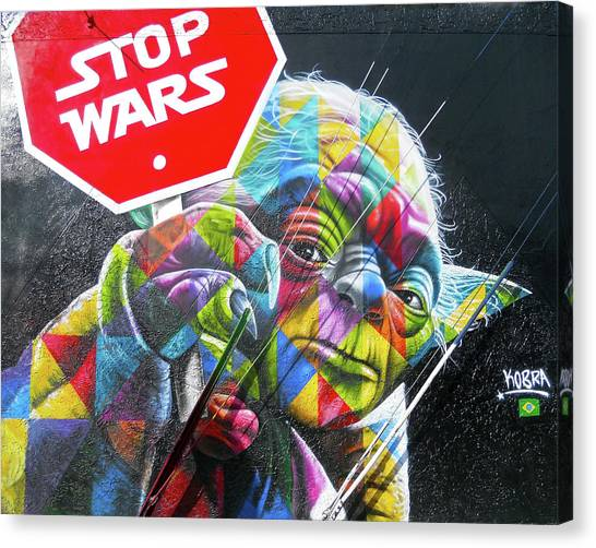 Yoda - Stop Wars Canvas Print