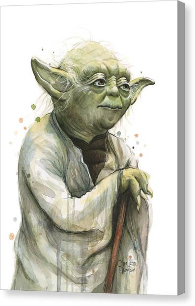 Jedi Canvas Print - Yoda Watercolor by Olga Shvartsur