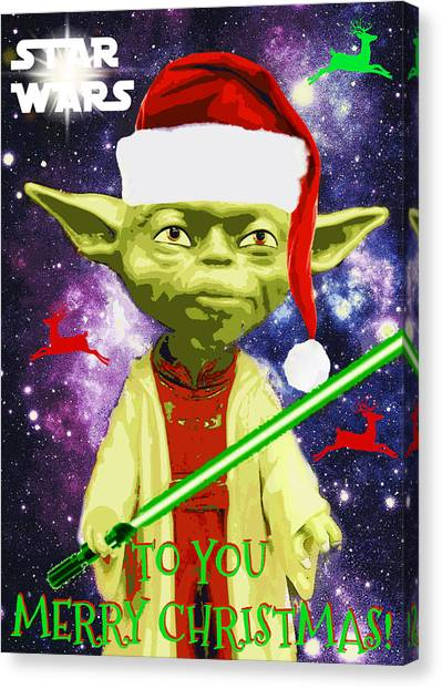 Yoda Wishes To You Merry Christmas Canvas Print