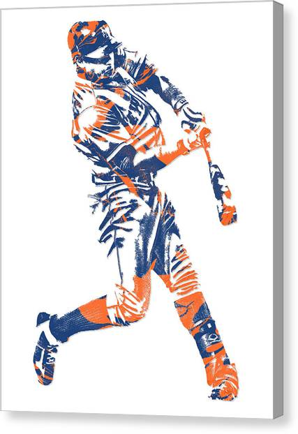 New York Mets Canvas Print - Yoenis Cespedes New York Mets Pixel Art 1 by Joe Hamilton