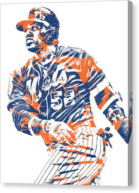 New York Mets Canvas Print - Yoenis Cespedes New York Mets Pixel Art 10 by Joe Hamilton