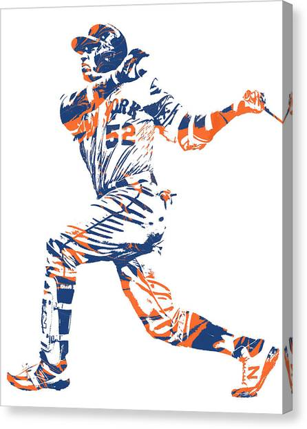 New York Mets Canvas Print - Yoenis Cespedes New York Mets Pixel Art 11 by Joe Hamilton