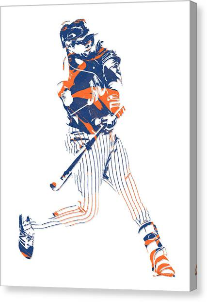 New York Mets Canvas Print - Yoenis Cespedes New York Mets Pixel Art 2 by Joe Hamilton