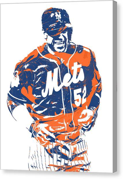 New York Mets Canvas Print - Yoenis Cespedes New York Mets Pixel Art 3 by Joe Hamilton