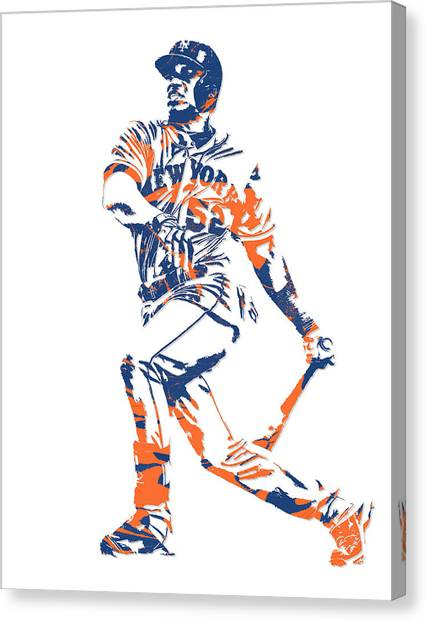 New York Mets Canvas Print - Yoenis Cespedes New York Mets Pixel Art 4 by Joe Hamilton