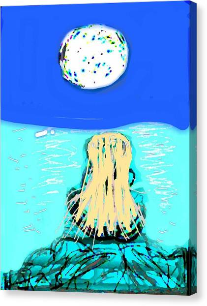Yoga By The Sea Under The Moon Canvas Print