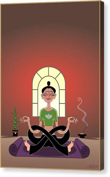 Meditate Canvas Print - Yoga Pretzel by Cristina McAllister