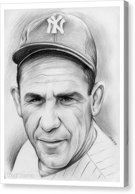 Baseball Canvas Print - Yogi Berra by Greg Joens