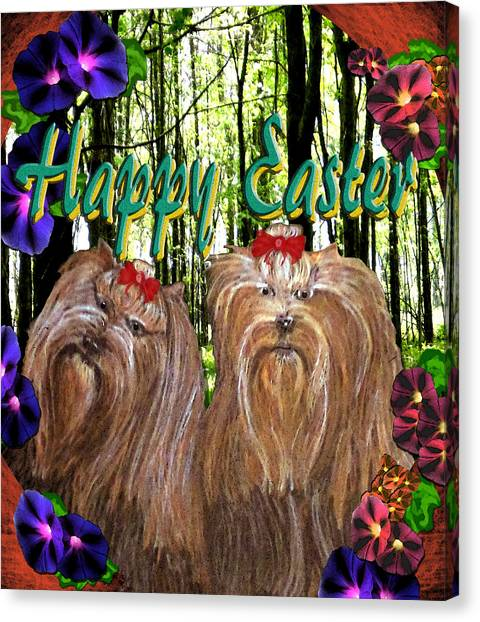 Canvas Print featuring the digital art Yorkie Easter by Michelle Audas