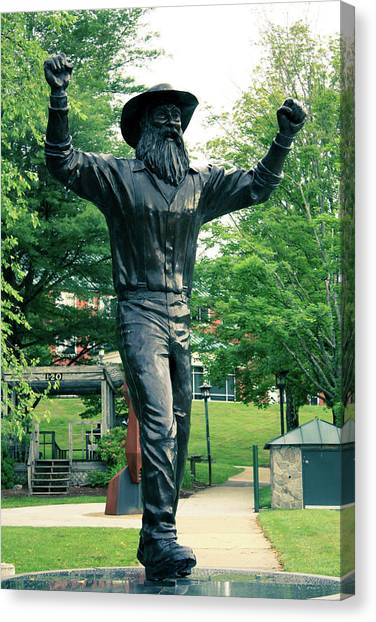 Sun Belt Canvas Print - Yosef Mountaineer Statue by Selena Wagner
