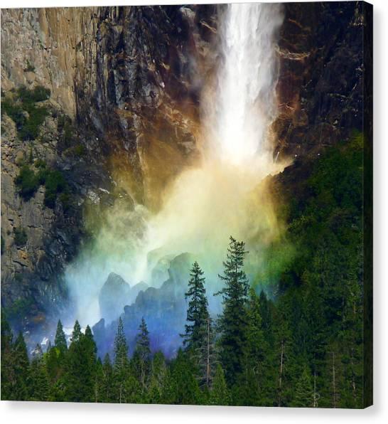 Yosemite Bridalveil Fall Rainbow Canvas Print