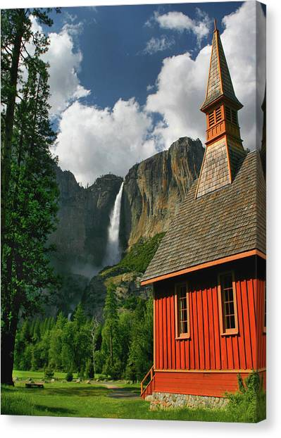 Yosemite Chapel Canvas Print by Tom Kidd