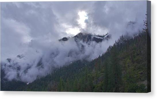 Canvas Print featuring the photograph Yosemite Clouds Bbbbbbbbbbbb by Phyllis Spoor