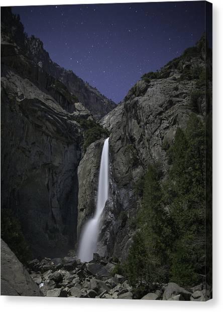 Yosemite Falls At Night Canvas Print