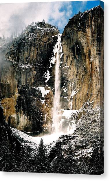 Yosemite Falls In Winter Canvas Print by Michael  Cryer