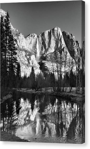 Yosemite Falls Reflections Canvas Print by Stephen  Vecchiotti