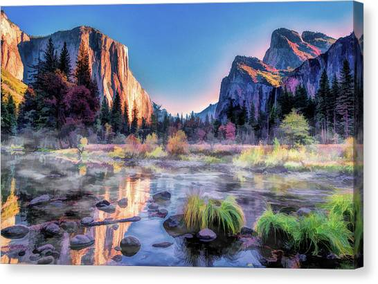 Canvas Print featuring the painting Yosemite National Park Valley by Christopher Arndt