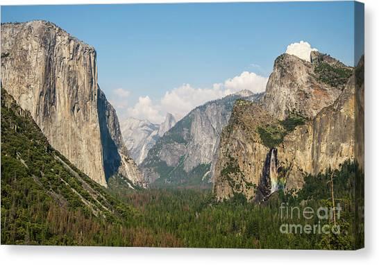 Yosemite Tunnel View With Bridalveil Rainbow By Michael Tidwell Canvas Print
