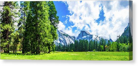 Yosemite Valley And Half Dome Digital Painting Canvas Print
