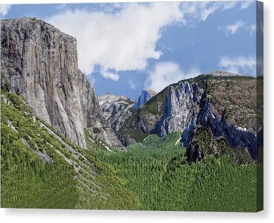 Yosemite Valley Showing El Capitan Half Dome And The Three Brothers Formation Canvas Print