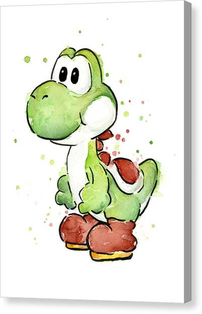 Gaming Consoles Canvas Print - Yoshi Watercolor by Olga Shvartsur
