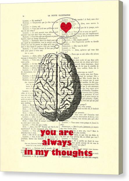 Wedding Gift Canvas Print - You Are Always In My Thoughts by Madame Memento