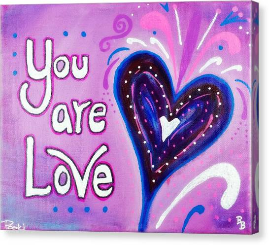 You Are Love Purple Heart Canvas Print