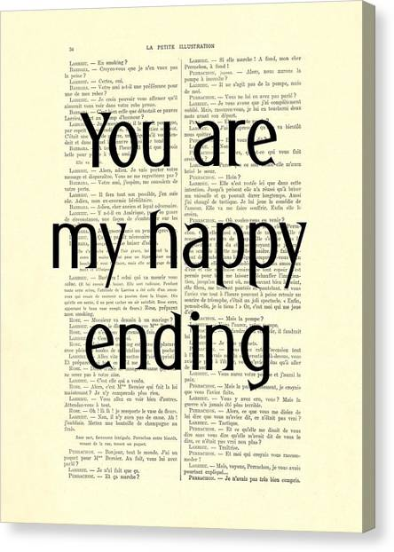 Wedding Gift Canvas Print - You Are My Happy Ending by Madame Memento