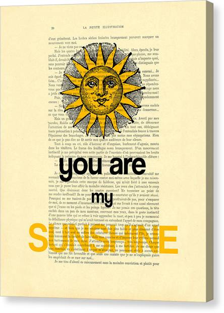 Wedding Gift Canvas Print - You Are My Sunshine by Madame Memento