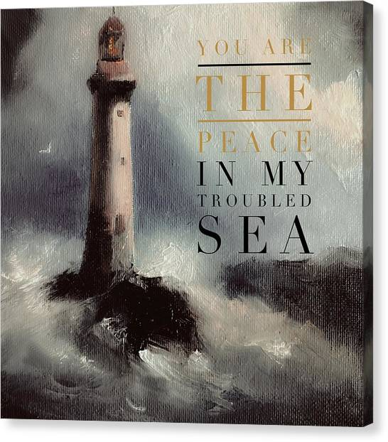 You Are The Peace In My Troubled Sea Lighthouse Canvas Print