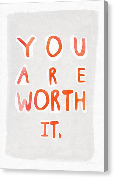 Psychology Canvas Print - You Are Worth It by Linda Woods