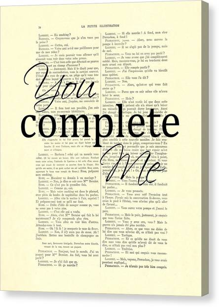 Wedding Gift Canvas Print - You Complete Me, Love Poster by Madame Memento