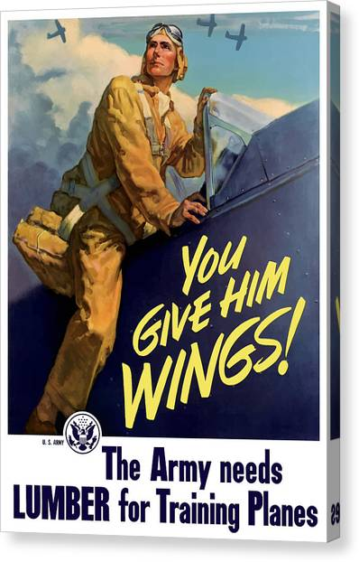 Pilots Canvas Print - You Give Him Wings - Ww2 by War Is Hell Store