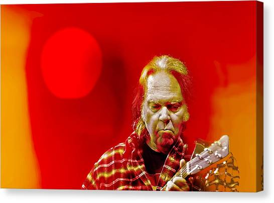 Neil Young Canvas Print - You Keep Me Searching by Mal Bray