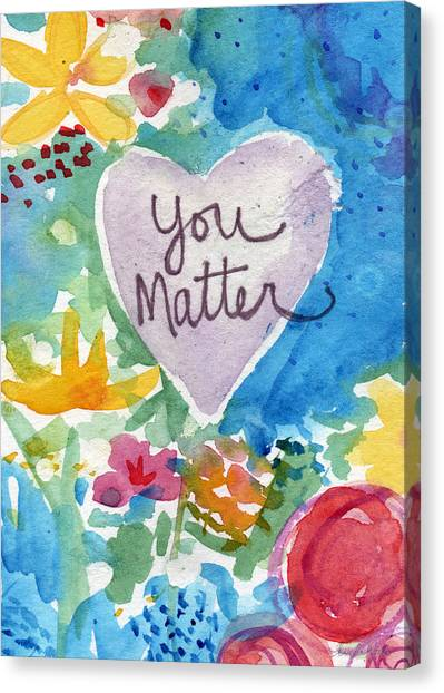 Bedroom Canvas Print - You Matter Heart And Flowers- Art By Linda Woods by Linda Woods