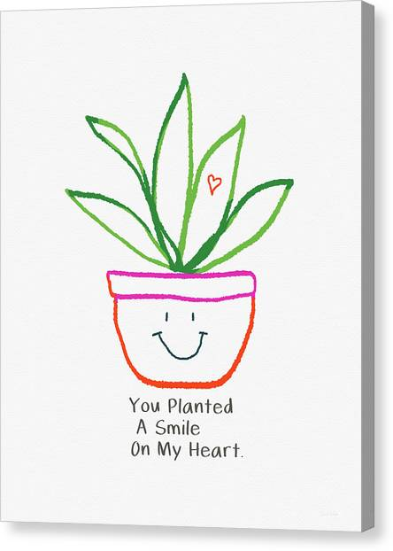 Succulent Canvas Print - You Planted A Smile- Art By Linda Woods by Linda Woods