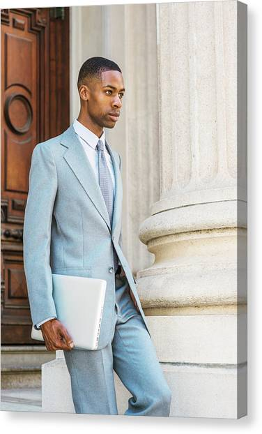 Young African American Businessman Working In New York Canvas Print