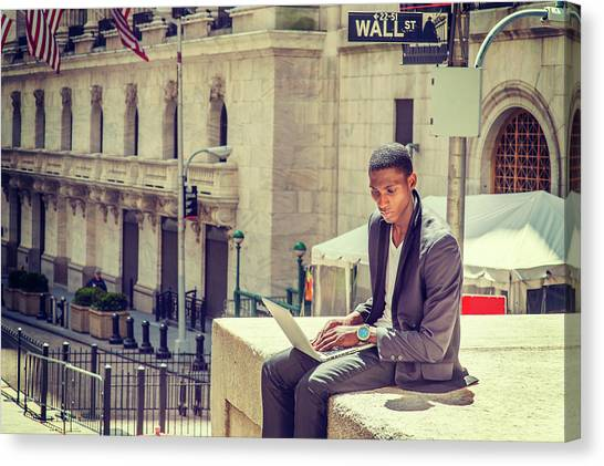Young African American Man Working On Wall Street In New York Canvas Print