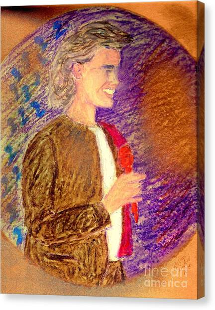 Young Andrea Bocelli Canvas Print by Ricardo Richard W Linford