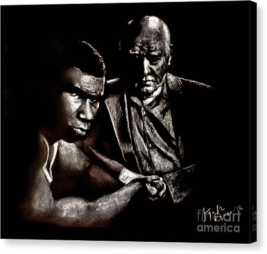 Mike Tyson Canvas Print - Young Boxer And Soon To Be World Champion Mike Tyson And Trainer Cus Damato by Jim Fitzpatrick