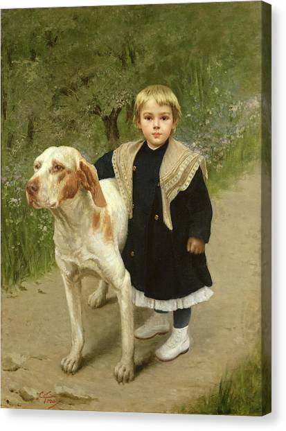1900 Canvas Print - Young Child And A Big Dog by Luigi Toro