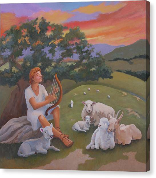 Young David As A Shepherd Canvas Print
