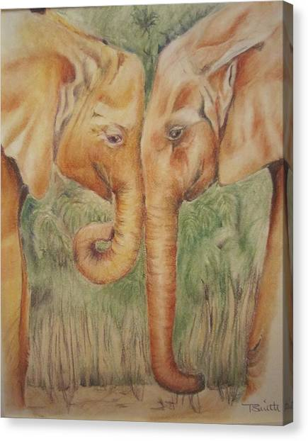 Young Elephants Canvas Print