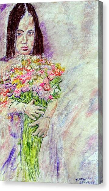 Young Flower Girl Canvas Print by Richard Wynne