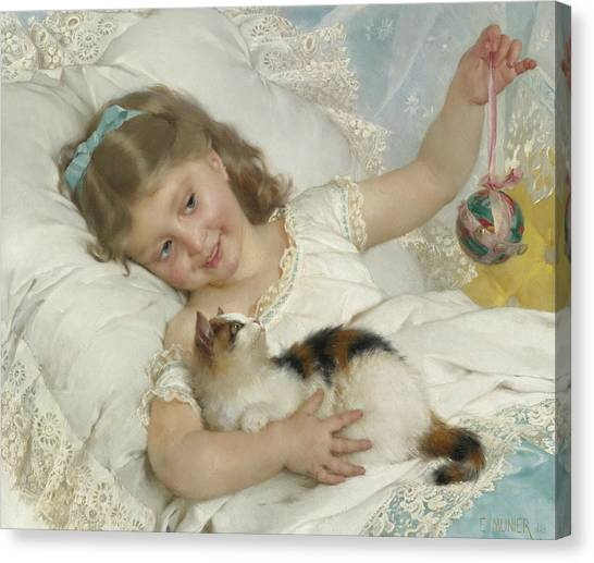 Academic Art Canvas Print - Young Girl And Cat by Emile Munier