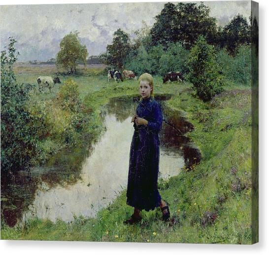 Girl In Landscape Canvas Print - Young Girl In The Fields by Evariste Carpentier