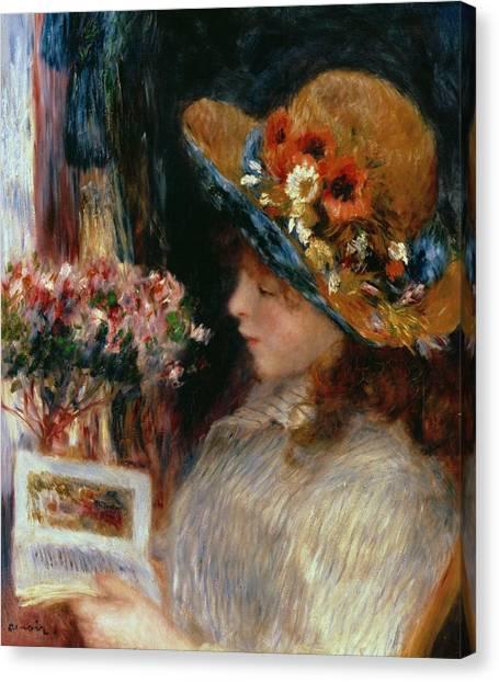 Pierre-auguste Renoir Canvas Print - Young Girl Reading by Pierre Auguste Renoir